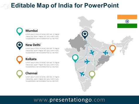 India Editable Powerpoint Map Presentationgo Com India Map Ppt Template