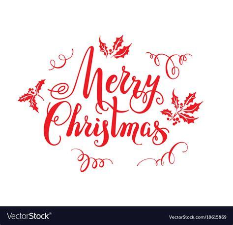 red merry christmas lettering royalty  vector image