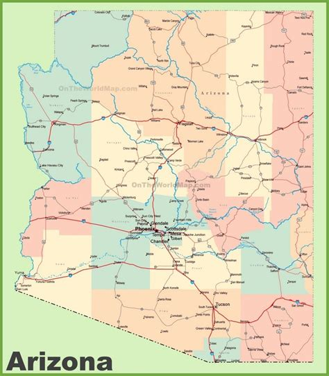 map usa arizona arizona road map with cities and towns