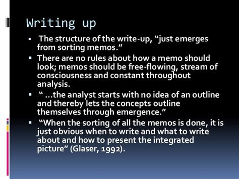 Memo Writing Grounded Theory Grounded Theory