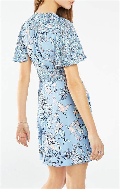 Floral Print Wrap Dress floral print blocked wrap dress