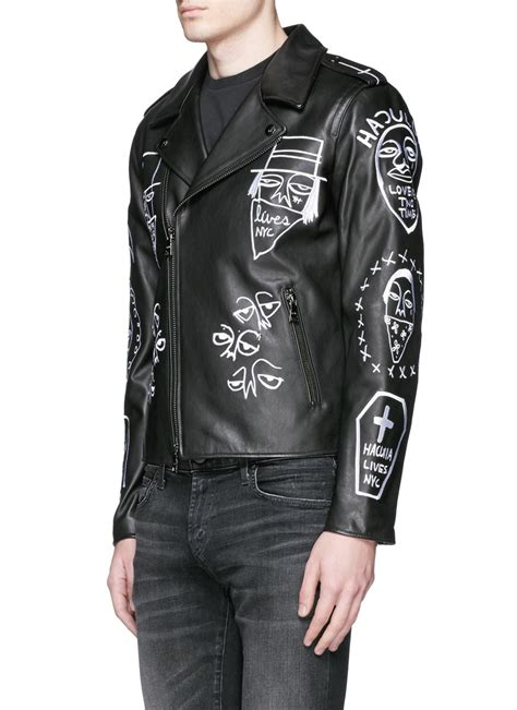 Leather Nyc haculla nyc tribe leather biker jacket in black for
