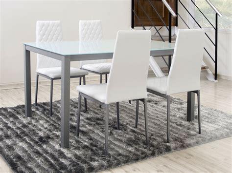 mesa y sillas blancas conjunto de mesa rectangular fija de 140 cms y cuatro sillas