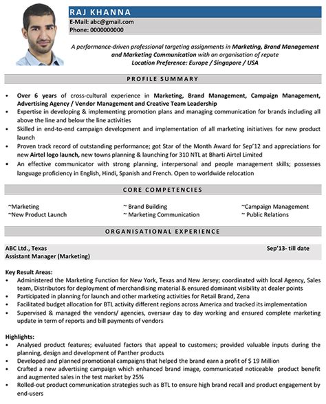 marketing manager cv format marketing manager resume sle and template