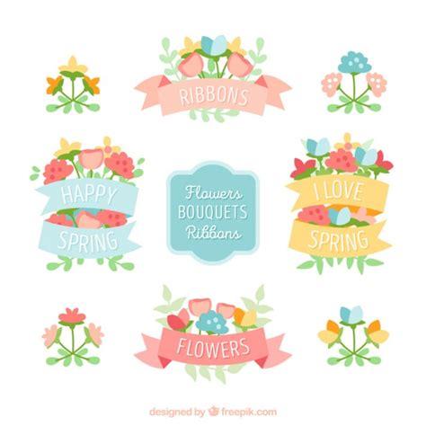 Set Floral 116 Busui Quality vintage bouquets with ribbons set vector premium