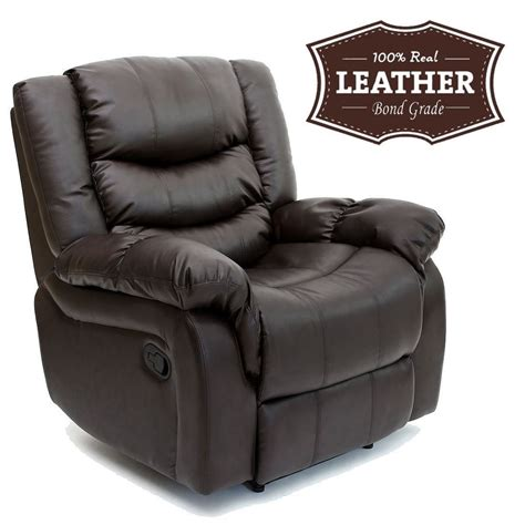 seattle brown leather recliner armchair sofa home lounge