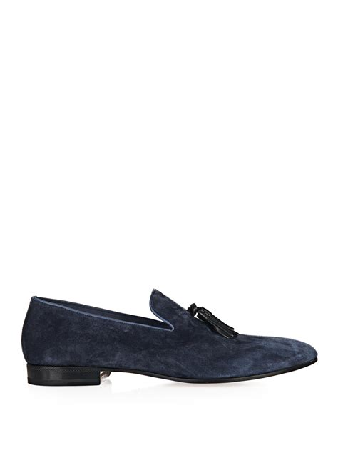 sergio loafers sergio leather tassel suede loafers in blue for