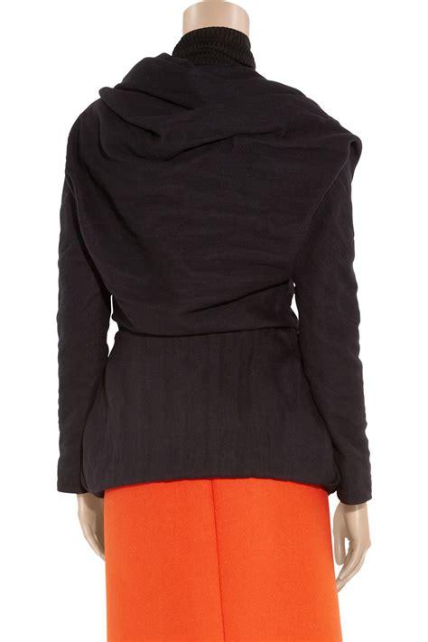 Wool Blend Jacket by Lyst Lanvin Creased Wool Blend Wrap Jacket In Black