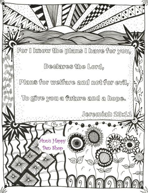Coloring Page Jeremiah 29 11 by Zentangle 174 Inspired Bible Verse Memory Coloring Page