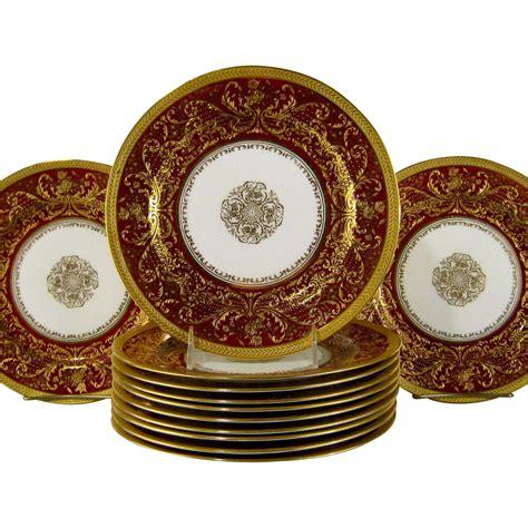 gold pattern dinnerware 12 royal doulton burslem dinner plates c1895 raised gold