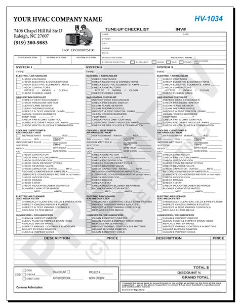 air checklist template hv 1034 hvac multi unit tune up checklist value printing