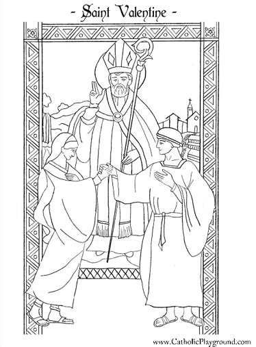 saint valentine catholic coloring page  children ii