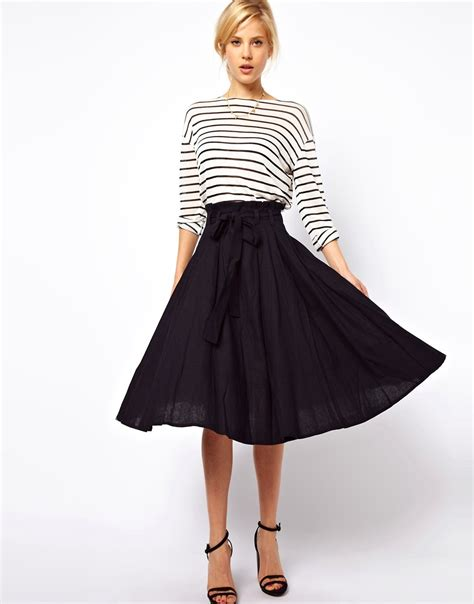 asos asos linen midi skirt with belt at asos