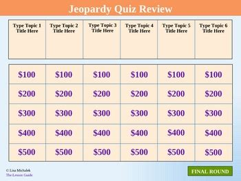 Jeopardy Quiz Review Powerpoint Template Lesson By Lisa Michalek Jeopardy Template For Teachers