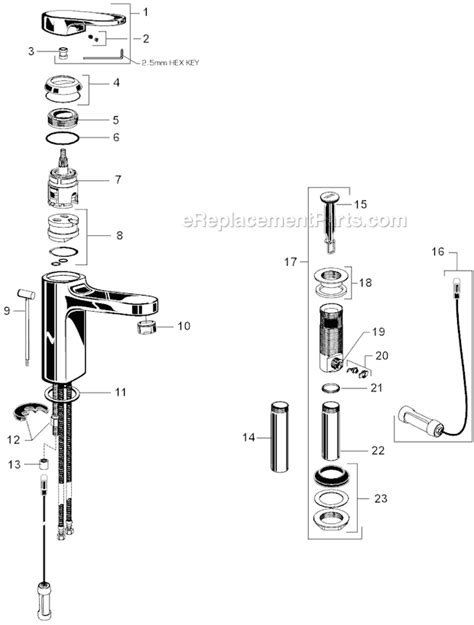 American Standard Bidet Faucet Parts by American Standard 2506 101 Parts List And Diagram
