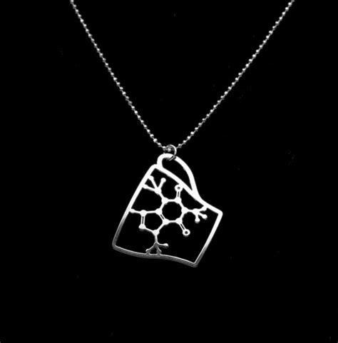 caffeine molecule necklace silver coffee cup pendant
