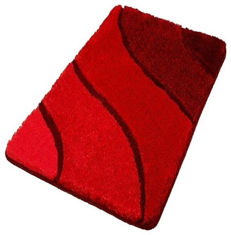 Plush washable red bathroom rugs large contemporary bath mats other metro by vita futura