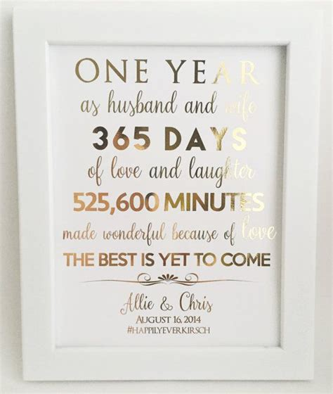 gift for wife gold foil print first 1st anniversary gift for husband