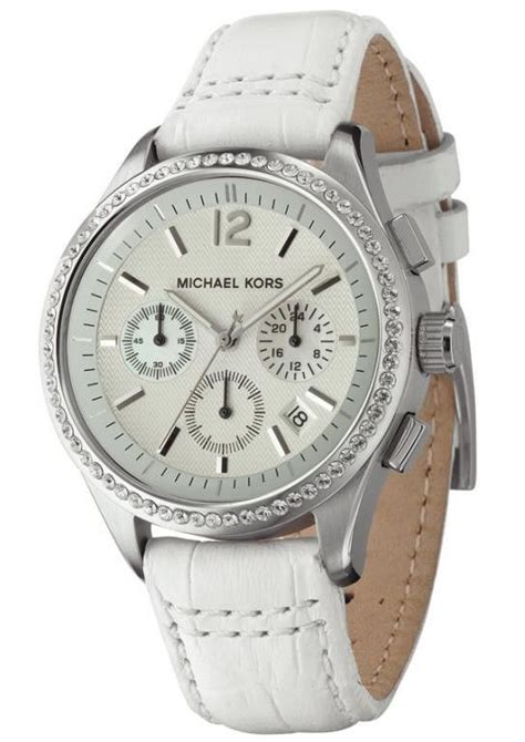 new michael kors s silver tone white leather