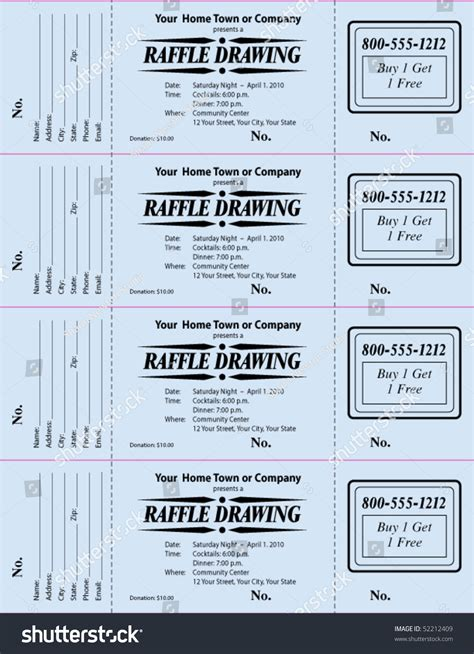 Raffle Ticket 3part Vector Template Stock Vector 52212409 Shutterstock Drawing Ticket Template