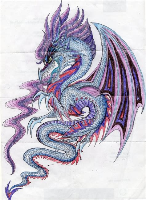 blue dragon tattoo designs marvelous blue and purple design by
