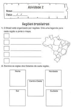 Atividades Estados Capitais e Regiões do Brasil Geografia