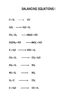 chemistry worksheet easy balancing equations problems by ray byle