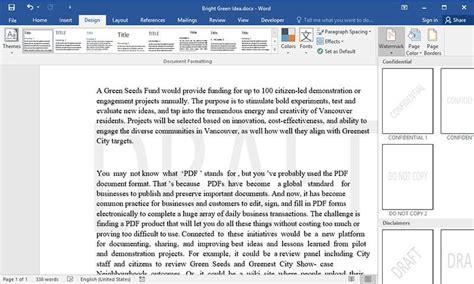 insert draft watermark  word wondershare pdfelement