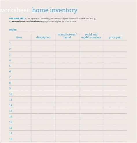 sle home inventory template free documents download