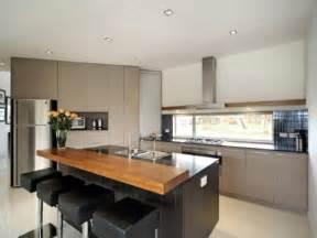 Wonderful kitchen island design ideas with seating using black leather