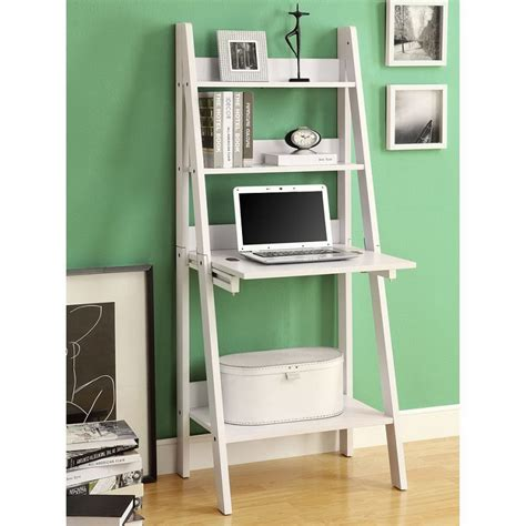 Anita Drop Down Desk With Ladder Bookcase Home Office Ladder Desk With Shelves