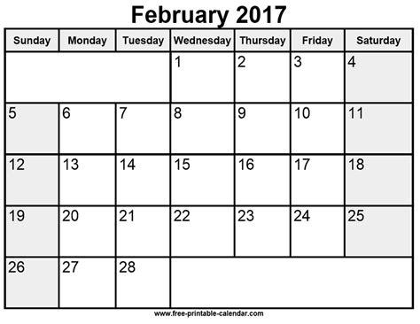 printable calendar february 2017 printable february 2017 calendar