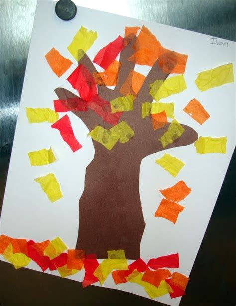 tissue paper leaf craft autumn preschool