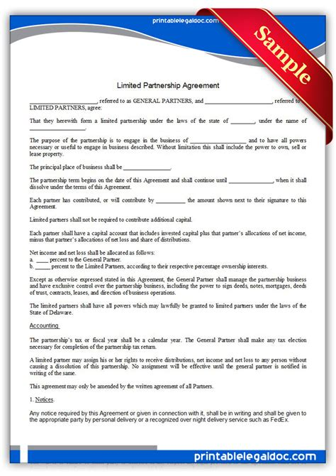 limited partnership agreement template free printable limited partnership agreement form generic