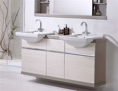 White Linear His And Hers Bathrooms Sinks With Storage Ream His And Hers Laundry Hers