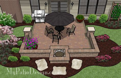 Patio Layout Design by Fire Pit In Seating Wall Patio Tinkerturf