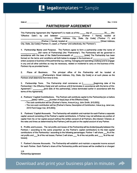 20 Partnership Agreements Legal Forms Templates Generator Partnership Agreement Template Pdf