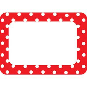 red polka dots 2 name tags labels tcr5539 teacher
