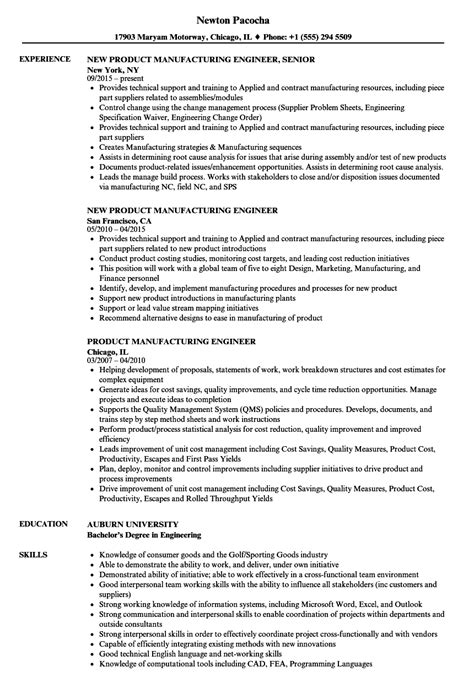Manufacturing Engineer Resume by Product Manufacturing Engineer Resume Sles Velvet