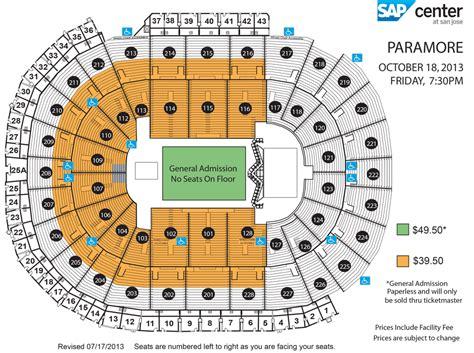 sap center seating chart paramore sap center