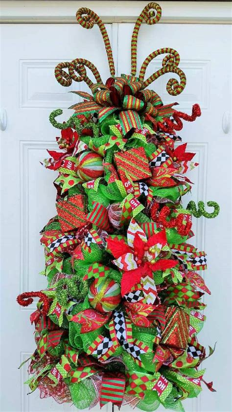 made to order christmas tree door decor mesh by