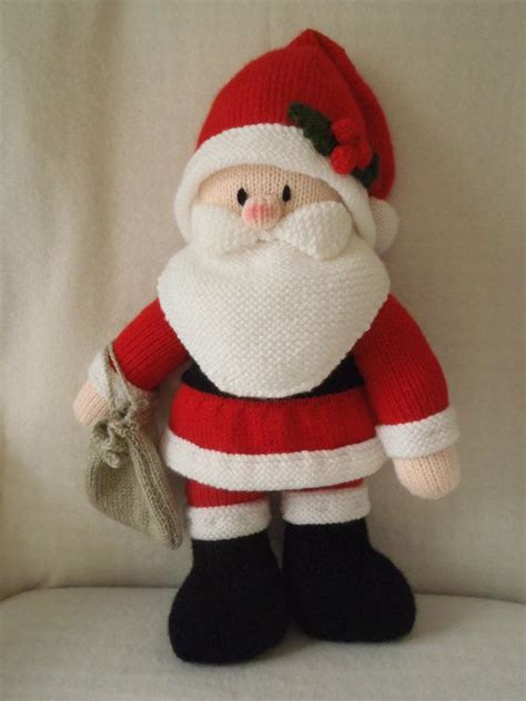 hand knitted father christmas toy designed by jean