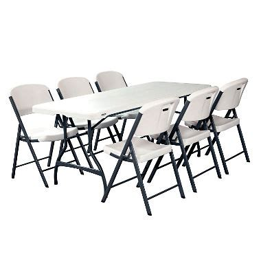 white folding table and chairs lifetime combo 6 commercial grade folding table and 6