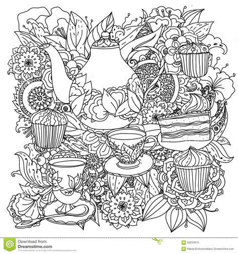 creative tea time coloring book coloring books with elements of time for tea stock vector image 62034615