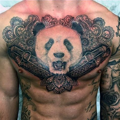 panda chest tattoo girl 100 panda bear tattoo designs for men manly ink ideas