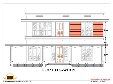 Kerala Home Design 2d | 2d house plan sloping squared roof kerala home design