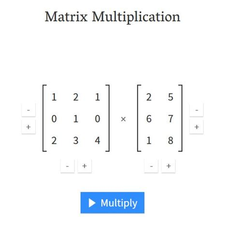 calculator matrix interactive calculator for matrix multiplication