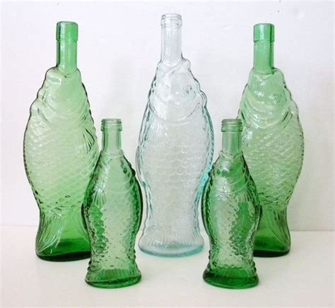 green glass fish shaped wine bottle fishes