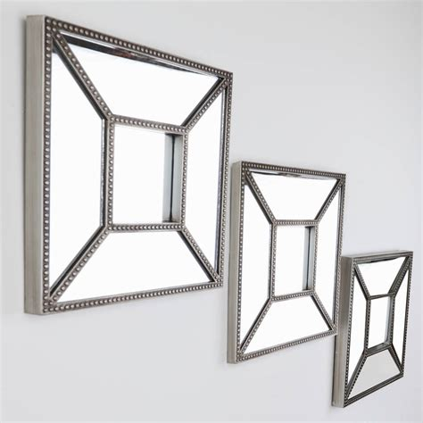 set of three bevelled chagne wall mirrors by dibor notonthehighstreet com