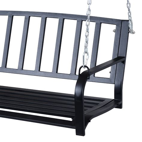 black porch bench 2 person outdoor porch swing bench outsunny aosom com